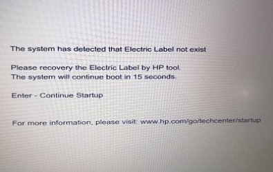 """How to resolve """" The system has detected that electric label not exist """" problem"""
